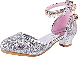 Toddler Girls Dress Pumps Glitter Sequins Princess Low Heels Mary Jane Party Dance Shoes