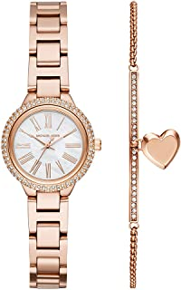 Women's Taryn Quartz Watch with Stainless-Steel-Plated Strap, Rose Gold, 16 (Model: MK3858)