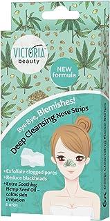 Victoria Beauty - Nasenstrips gegen Mitesser mit Hanföl, Clear Up Nose Strips, Blackhead Maske, Nasenmaske, Nasenstreifen zum Mitesser entfernen 1 x 6 Stk.
