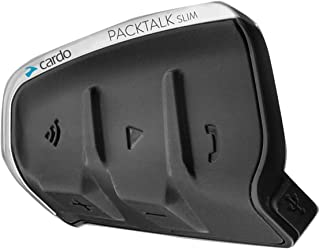 Cardo DMC/Bluetooth PACKTALK SLIM Motorcycle Communication and Entertainment System With Natural Voice Operation, Sound By JBL, Connect 2 to 15 Riders (Single Pack) (Black