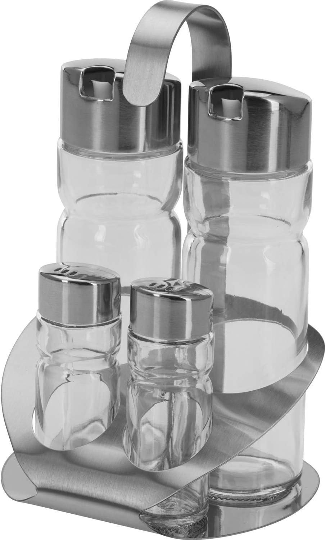 Westmark Juego de salero, pimentero y vinagrera para aceite y vinagre, 5 piezas, 5 piezas, Capacidad 2x 40 ml / 2x 160 ml, Acero inoxidable / vidrio, Wien, Plateado / transparente, 65052260