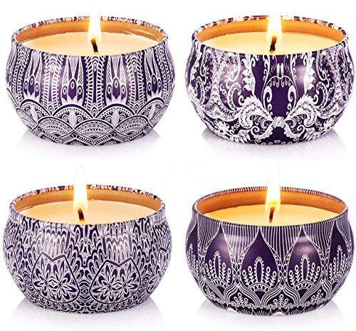 Hausware Scented Candle Set of 4 Pack,4X4.4 oz Candle Aromatherapy with Frangrance Essential Oils Vanilla Lavender Lemon Apple &Cinnamon,Gift Set for Birthday,Thanksgiving Day,Halloween Decoration