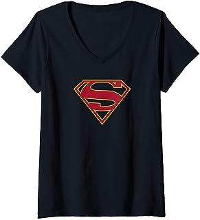 Femme DC Comics Supergirl Shield Logo T-Shirt avec Col en V