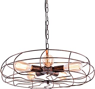 RUNNUP Ventilador industrial Lámpara colgante de iluminación de techo Vintage 5 luces E27 socket en hierro forjado Estilo para la sala de estar de la casa interior Bar Restaurantes Coffe Decoración