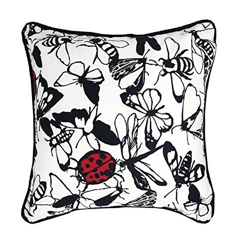 Lancashire Textiles Papillion Lady Bird Papillon Noir Blanc 43 cm x 43 cm Housse de Coussin Uniquement