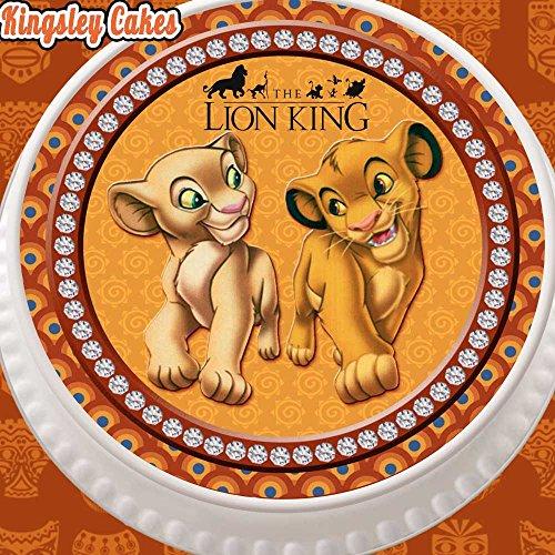 Vorgeschnittener, essbarer Kuchenaufsatz aus Zuckerguss, Durchmesser von 19cm (7,5 Zoll), mit König-der-Löwen-Motiv Baby Simba und Nala
