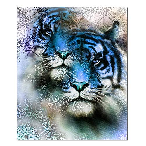 BZCBX Impresión de Lienzo 40x60cm Tigre Animal Floral Abstracto Azul Cuadros en Lienzo Mural Fotos para Salon Dormitorio Baño Comedor (Bastidor de Madera)