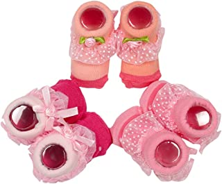 born baby girl booties born baby girl socks fancy socks for new born girl newborn booties teddy socks cartoon booties 0-3 month pack of 3 (Light pink)