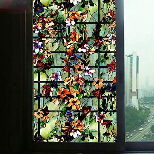 Pegatinas de ventana de colores de flores manchadas de la película de privacidad decorativa para muebles de vidrio adhesivo estático adhesivo opaco para baño decoración del hogar 50 cm x 100 cm
