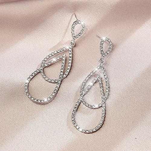 ShSnnwrl Aretes Pendientes Mujer de Plata Hombre Pendiente Pendientes de corazón para Mujer, lujosos Pendientes geométricos de Diamantes de