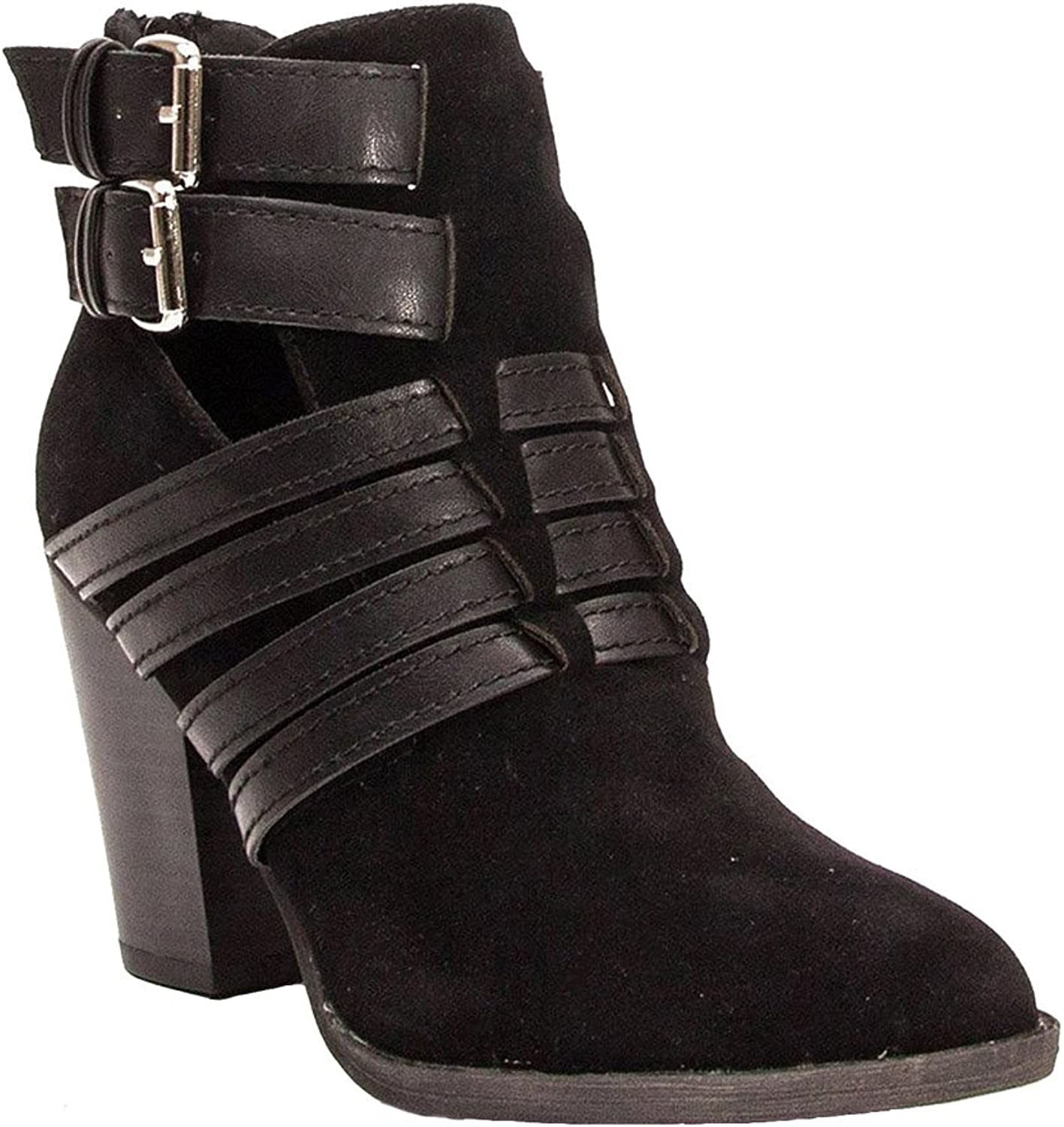 Breckelle's HEATHER-35W Women's Cut Out Back Zip Strappy Chunky Ankle Booties