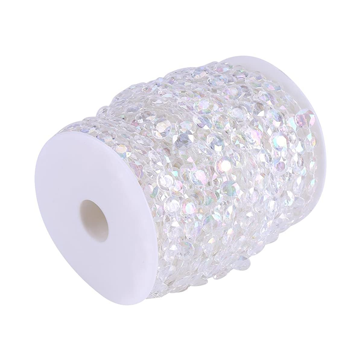 30m/98ft Crystal-Like Acrylic Beads Strands,10mm Clear/AB Color Crystal Gem Bead Curtain Doorway Wedding Birthday Party Decorations DIY Crafts (AB Color)