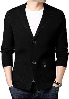 Dawwoti Men's Knitted Cardigan Notch Lapel Suit Top Casual Regular Fit Blazers Stretchy Outwear