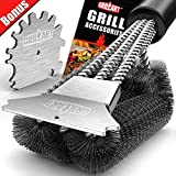 GRILLART Grill Brush and Scraper 18 Inch | Wire Bristle Brush Double Scrapers | Best Barbecue...