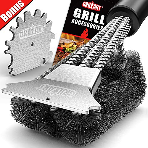 GRILLART Grill Brush and Scraper 18 Inch | Wire Bristle Brush Double Scrapers | Best Barbecue Cleaning Brush for Weber & All Gas/Charcoal Grilling Grates | Universal Fit BBQ Grill Accessories Barbecue Brushes Grill Grilling Utensils