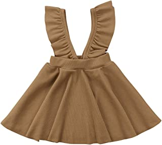 Specialcal Baby Girls Velvet Suspender Skirt Infant Toddler Ruffled Casual Strap Sundress Summer Outfit Clothes