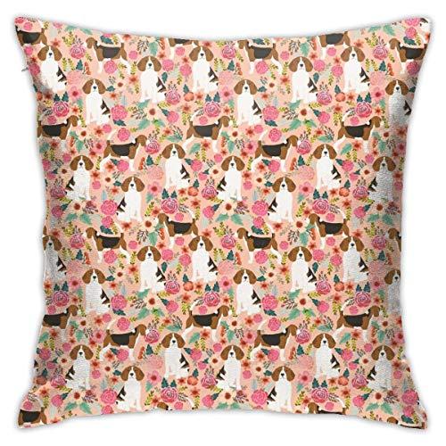 Kissenbezug Kissenhülle Kissenbezüge Kopfkissenbezug Hund und Blumenblumen mit Verstecktem Reißverschluss für Sofa Auto Bett,45x45CM