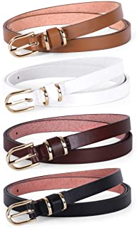 Women's Skinny PU Leather Belt Solid Color Fashion Thin Waist Belt with Gold Buckle for Jeans...