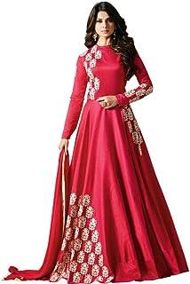 Monika Silk Mill Women's Banglori Sattin Embroidered Semi Stitched Anarkali Salwar Suit (Pink Color_MSAM1285)