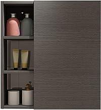 خزانة خشبية صلبة للحمام تعلق على الحائط خزانة الحمام خزانة تخزين جانبي خزانة جدار مرحاض خزانة جانبية (اللون: أسود، الحجم: ...
