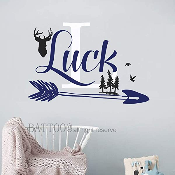 Personalized Name Wall Decal Deer Decal Boy Name Wall Decal Forest Birds Vinyl Decal Deer Antler Decal Arrow Decal Boy Nursery Bedroom Plus Free Hello Door Decal 44 Wide 30 Tall