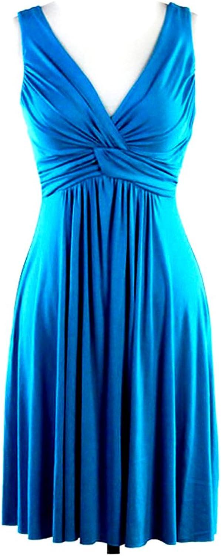 bluee VNeck Sleeveless Dress with Twist Shirring Detail, Knee Length, Medium