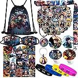Anime Bag Gift Set Including Drawstring Bag Backpack,Stickers,Lanyard,Face-Masks,Keychain,Necklace,Lomo Cards,Bracelets,Phone Ring Holder, Button Pins