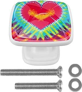 Paquet de 4 boutons d'armoire de cuisine, boutons pour tiroirs de commode Teinture de cravate de coeur abstraite Tire les ...
