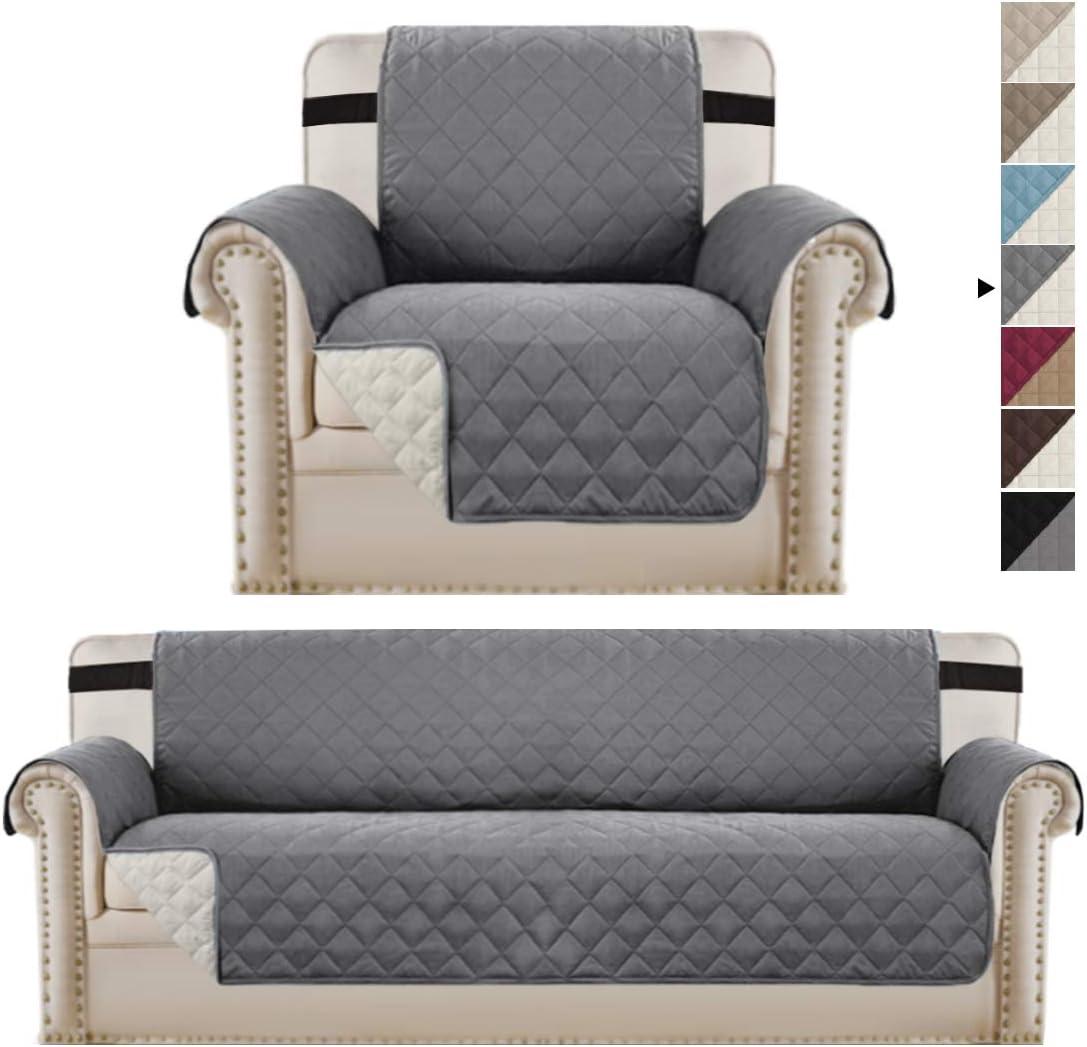 Reversible 安心と信頼 Grey Chair Cover and Sofa Bundle 誕生日 お祝い Oversized