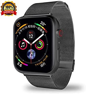 Smartwatch Bands Compatible for Apple Watch Band 40mm 38mm, Stainless Steel Mesh Sport Wristband Loop with Adjustable Magnet Clasp for iWatch Series 1 2 3 4 5 (Black, 38/40 mm)