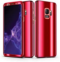AIsoar Compatible/Replacement fit Galaxy S8 / S8 Plus Case + Screen Protector Cover 2 in 1 360 ° Full Body Protection PC case Ultra Thin Hard Plating Shockproof Protective (red, Galaxy S8)