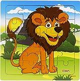 Tic-Tac Puzzles 20 Pièces Bébé Enfant éveil puzzle en bois Jouet Animaux sauvages (Lion)