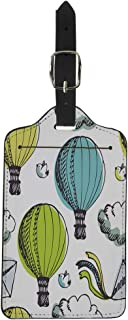 Pinbeam Luggage Tag Blue Sketch Hot Air Balloons and Birds Colorful Suitcase Baggage Label