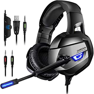 ONIKUMA Gaming Headset for PS4, PS4 Gaming Headset with 7.1 Surround Sound, Xbox One Headset with Noise Canceling Mic LED ...