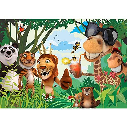 Vlies Fototapete 350x245 cm PREMIUM PLUS Wand Foto Tapete Wand Bild Vliestapete - JUNGLE ANIMALS PARTY no.2 - Kinderzimmer Kindertapete Zoo Tiere Safari Comic Party Dschungel - no. 087