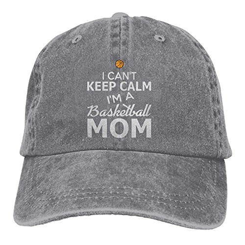 Hoswee Unisex Kappe/Baseballkappe, Can't Keep Calm I'm A Basketball MOM Plain Adjustable Cowboy Cap Denim Hat for Women and Men