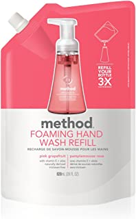Method Foaming Hand Soap Refill, Pink Grapefruit, 28 Fl Oz, Pack of 6