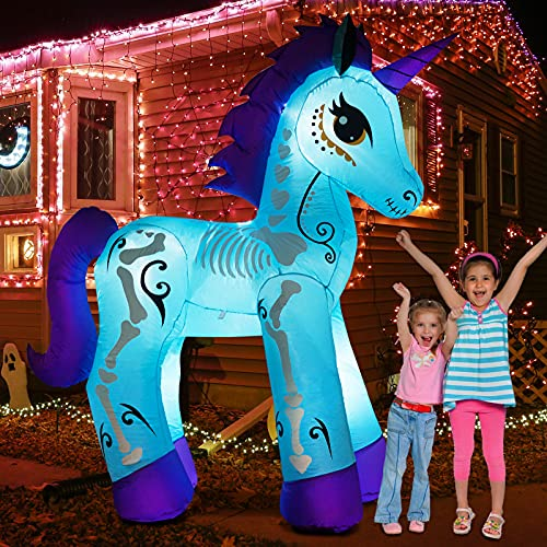 inslife 6Ft Halloween Unicorn Inflatables Decorations Day of The Dead, Blow Up Yard with LED Lights for Party Home Lawn Garden Indoor Outdoor