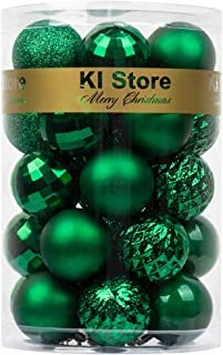 """Best KI Store 34ct Christmas Ball Ornaments 1.57"""" Small Shatterproof Christmas Decorations Tree Balls for Holiday Wedding Party Decoration, Tree Ornaments Hooks Included (Green, 1.57-Inch) Reviews"""