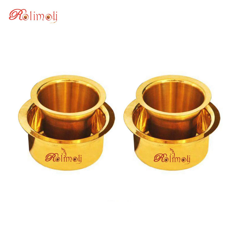 Rolimoli Special South Indian Coffee Brass Filter Handmade Tumbler Cup Set Handicraft (150 ML Pure Brass Kappi Set of 2)