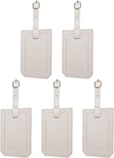 Segarty PU Leather Travel Luggage Suitcase ID Tags, Set of 5, White (White) - 550119_04