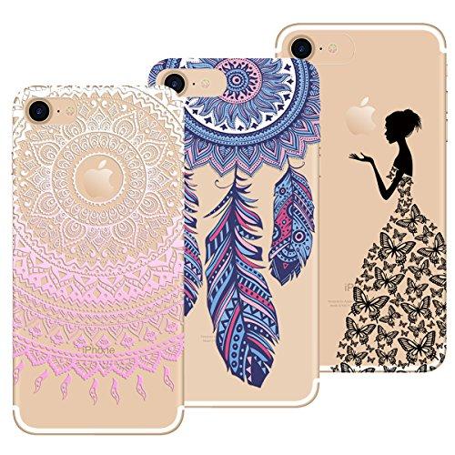 Yokata Kompatibel mit iPhone 7 Hülle iPhone 8 Hülle Silikon Transparent Durchsichtig Handyhülle Schutzhülle TPU Dünn Slim Kratzfest mit Motiv [3 Pack] - Mandala + Feder + Mädchen und Schmetterling.