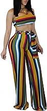 Ophestin Womens Rainbow Stripe 2 Piece Outfits Jumpsuits Tube Crop Top Wide Leg Pants Set