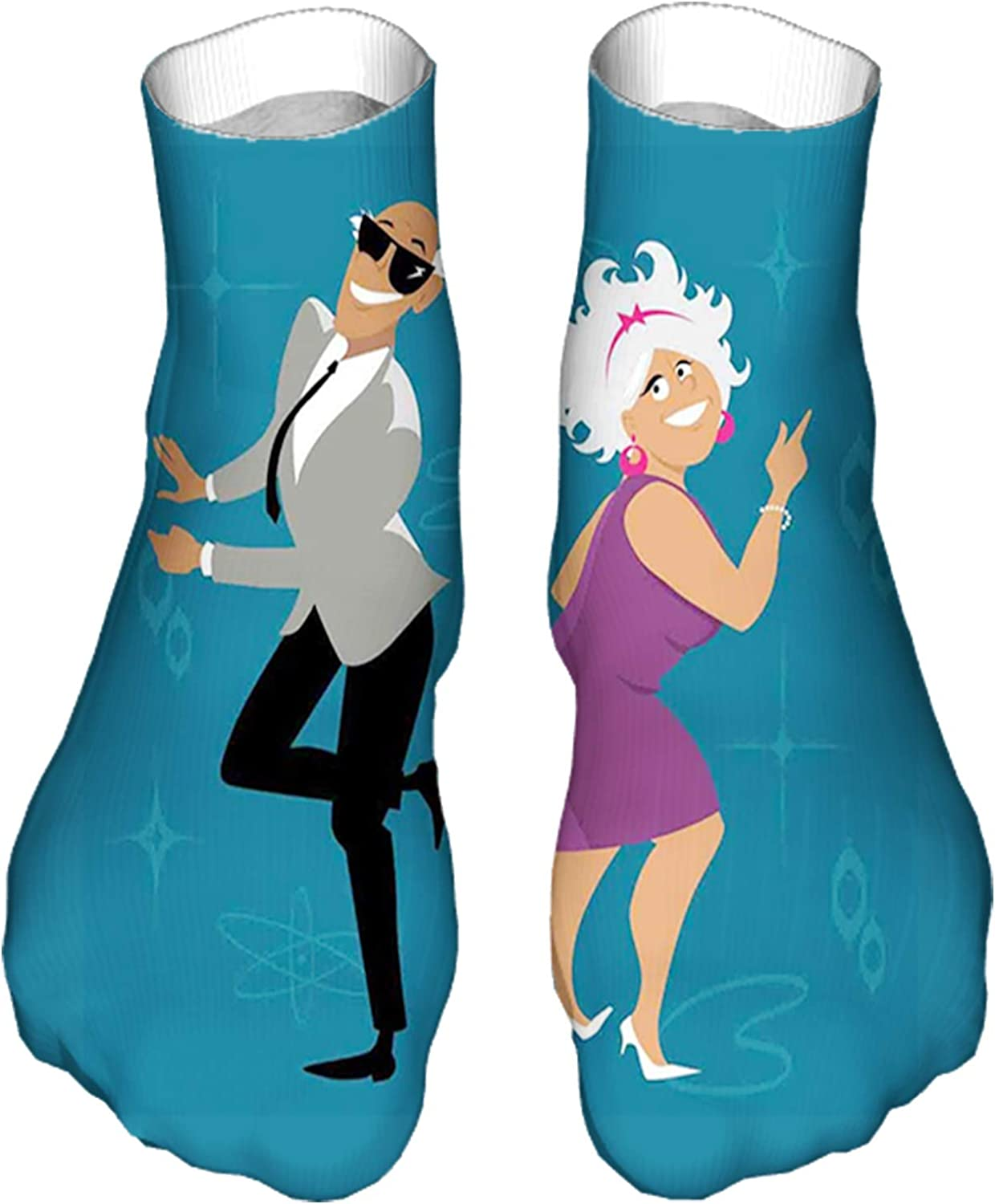 Men's and Women's Fun Socks Printed Cool Novelty Funny Socks,Mature Couple Dressed in 1960s Fashion Clothes and Dancing