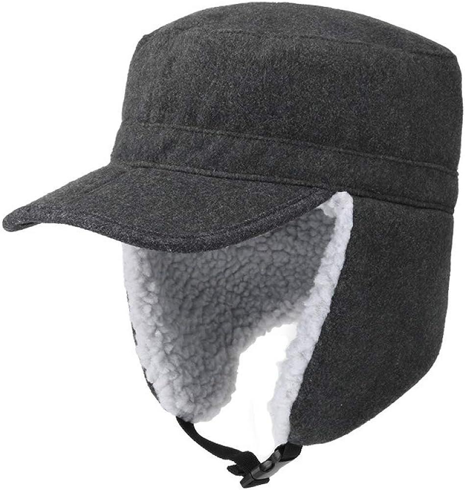 ZffXH Winter Trapper Hunting Hat with Visor Elmer Fudd Baseball Cap with Folded Faux Fur Ear Flap
