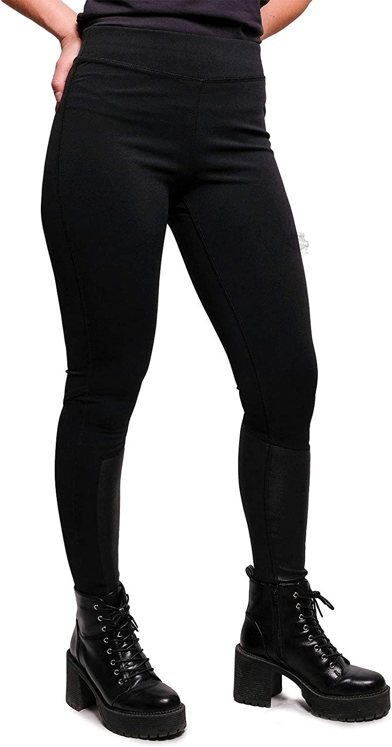 Harley-Davidson Womens Leather Accent Mid-Rise Stretch Black Leggings Pants 99128-19VW
