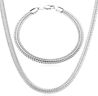 U7 Men Women 5MM/6MM Thick Foxtail/Mesh Chain Free Engraving Service, Match Pendant or as Necklace,Length 18