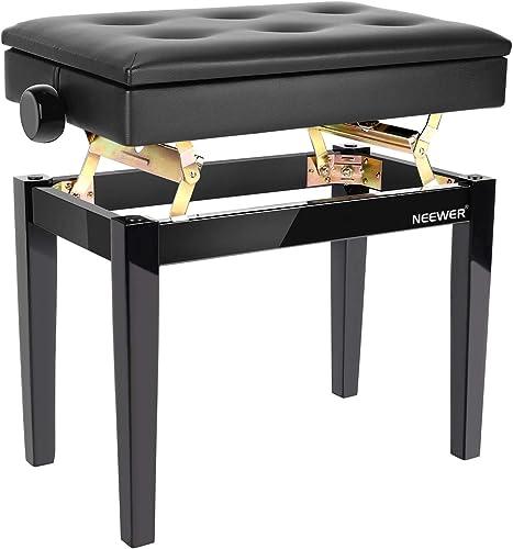 Neewer Tabouret de Banc de Piano en Bois Réglable avec Rangement pour Partitions Noir Siège Solo Coussin en Cuir PU, ...