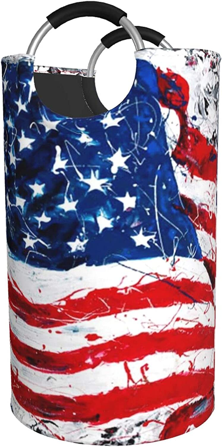 Us Gifts Flag 4 years warranty Print Laundry Hamper Waterproof With Padded Bag