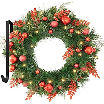 OasisCraft 24 Inch Prelit Christmas Wreath Artifical Spruce Red Wreath Front Door with Mixed Decorations Pre-Strung 50 LED Lights Battery Operated and Timer